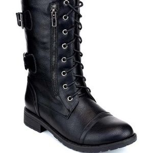 Black Faux Leather Combat Boot